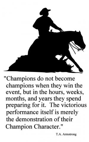 Horse-Champions Reining Horse Quote-Horse wall decal-Large 28 x 43 ...