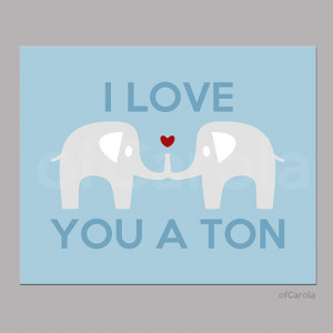 Elephant I Love You a Ton Quote PERSONALIZED Wall Art Print, Couple ...