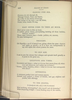 page from Leaves of Grass, courtesy of the Walt Whitman Archive ...