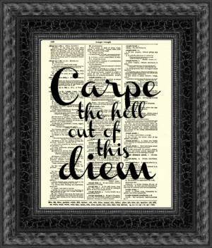 Carpe Diem Quote, Seize the Day Dictionary Print, New Year's Wall ...