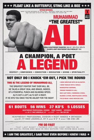 Details about BOXING POSTER Muhammad Ali - Vintage Quotes