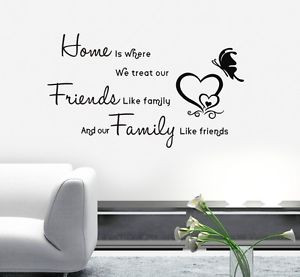 HOME-FRIENDS-LIKE-FAMILY-Love-Heart-Quote-Art-PVC-Wall-Stickers-Decal ...