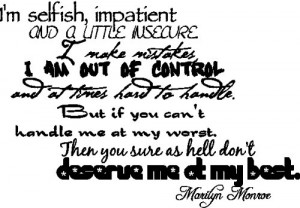 Selfish...Marilyn Monroe Quote Wall Words Removable Wall Lettering ...