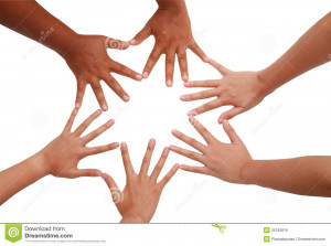 Royalty Free Stock Photo: Hand coordination Teamwork and team spirit