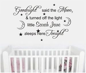 Details about Wall art quote personalised sticker baby Goodnight Moon