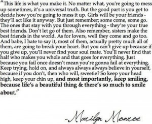 marilynquote,come,and,go,life,marilyn,monroe,quote,smile ...