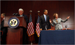 President Barack Obama, pictured here at the House Democratic Caucus ...