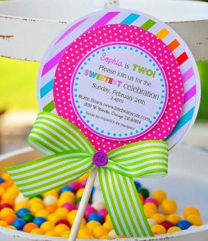 Lollipop Invitations, Candyland Lollipop Invitations. $38.00, via Etsy ...
