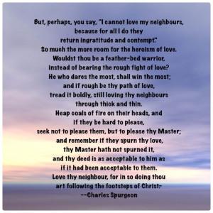 Loving your neighbor-Charles Spurgeon