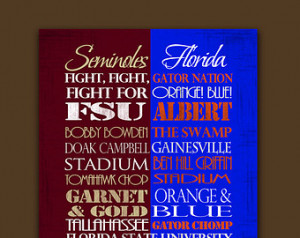 Florida State Seminoles / Universit y of Florida Gators House Divided ...