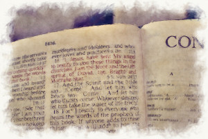 Revelation: Grungy image of texts from the last chapter of the bible ...