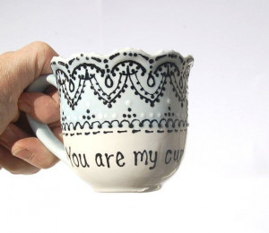 Sweet hand painted tea cup with quote