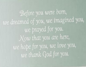 Before You Were Born We Dreamed of You Wall Decal - Baby Nursery Girl ...