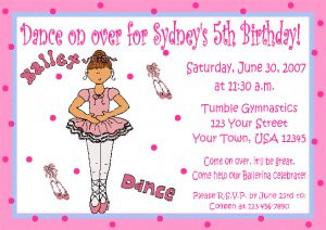 ... Invitations Personalized Birthday Party Custom DANCE RECITAL JAZZ