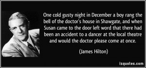 One cold gusty night in December a boy rang the bell of the doctor's ...