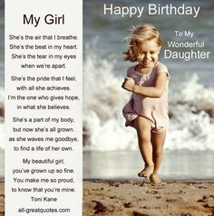 Birthday Poems to My Daughter | ... FREE >> Happy Birthday Wishes For ...