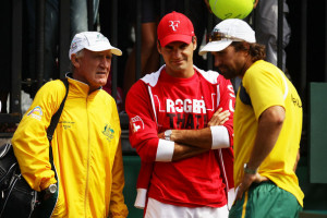 to Australian coach Tony Roche L and Australian captain Pat Rafter