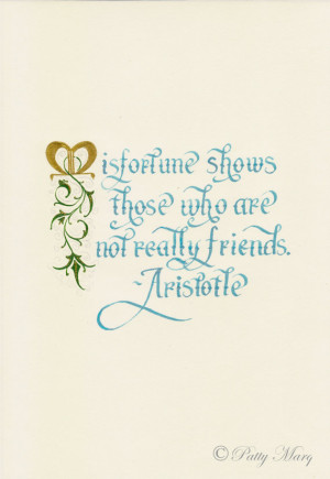 Friendship Quote by Aristotle done in calligraphy