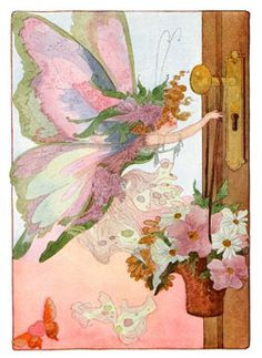 Fairy hanging May Day basket on door More