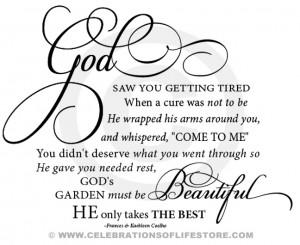 God Gardens, Funeral Quotes For Mom Heavens, Gardens Memories ...