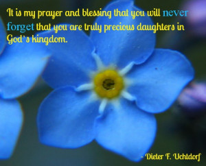 Forget me not flower with quote about virtue from Dieter Uchtdorf.