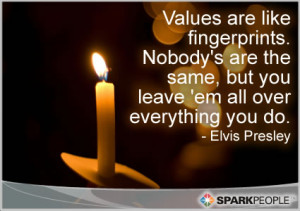 Motivational Quote - Values are like fingerprints. Nobody's are the ...