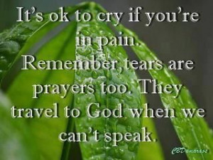 ... , tears are prayers too. They travel to God when we can't speak