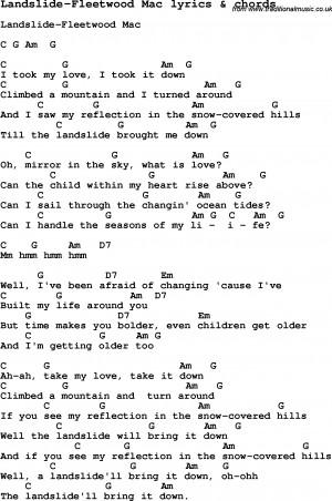 Love Song Lyrics for: Landslide-Fleetwood Mac with chords for Ukulele ...