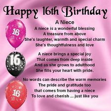Sweet 16 Quotes for Niece   Personalised Coaster - Niece Poem - 16th ...