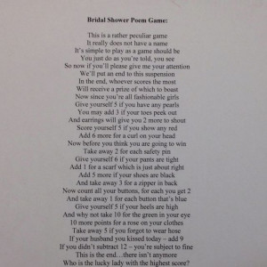 Bridal Shower Poem Game