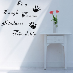 quote sticker lettering art words dream kindness with handprints ...