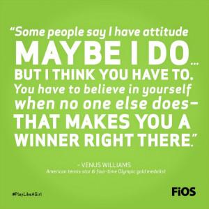 Venus Williams Quote On Attitude #tennis