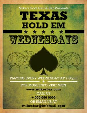 Texas Holdem Bar Flyer