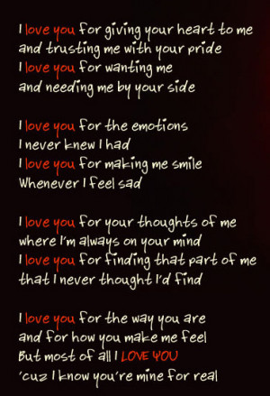 love you cuz i know you are mine for real, love quote