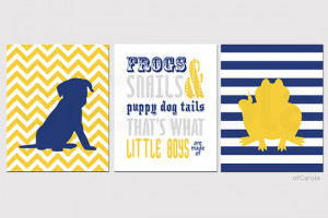 Frogs Snails Puppy Dog Tails Quote Wall Art, Personalized Three Print ...