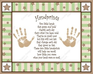 Create a cherished keepsake of your baby's handprint. This print can ...