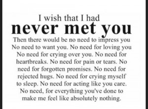 Wish You Loved Me Quotes I wish that i had never met