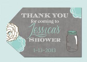 Mason Jar Floral Bridal Shower Favor Tags- Printable