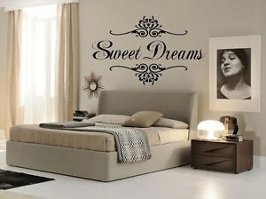Details about SWEET DREAMS Wall Art Decal Girls Quote Vinyl Home Decor ...