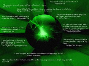 Dark quotes on Emerald BG by DarknessArts