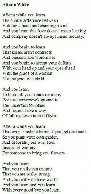 After a While, a beautiful poem about life's lessons