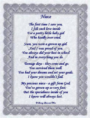 Niece poem is about a special niece. Poem may be personalized with no ...
