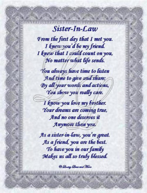 Sister-in-law poem is for that special sister-in-law who has become ...
