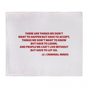 JJ Quote Criminal Minds Throw Blanket on CafePress.com