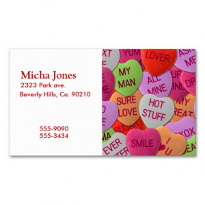 Candy Hearts With Sweet Sayings Business Card Template