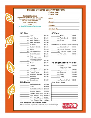 Bakery Order Form Template picture