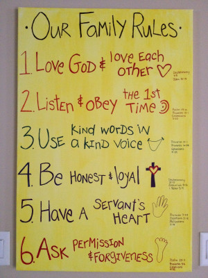 family rules with bible verses that go with the rules a great way to ...