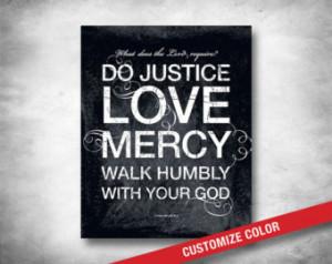 ... Quote - Bible Verse - Micah 6 Do Justice Art - Subway Art - Christian