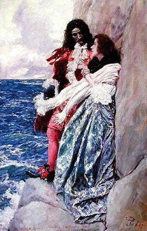 Howard Pyle (1853-1911), 'The Coming Tide' 1909 oil on canvas, 28 1/8 ...