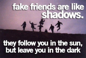 Fake friends are like shadows. They follow you in the sun, but leave ...